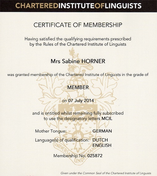 Certificate of membership Chartered Institute of Linguists (CIOL)